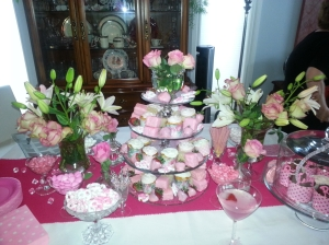 The deliciously pink decorations and treats!!!